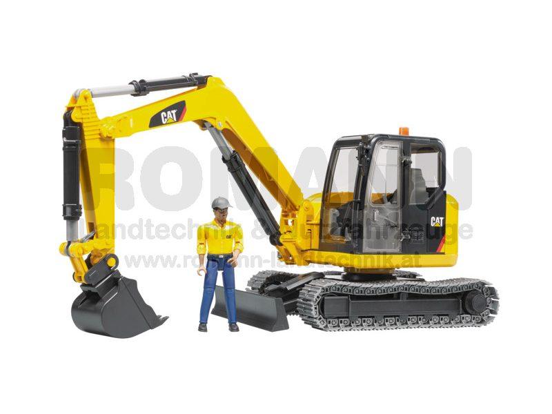 Caterpillar Minibagger mit Bauarbeiter