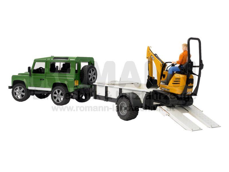 Land Rover Defender Einachsanhänger, JCB Mikrobagger + Bauarbeiter