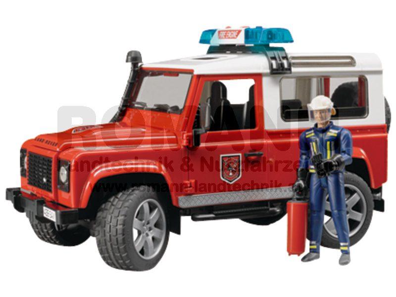 Land Rover Defender Station Wagon Feuerwehreinsatzwagen mit Feuerwehrmann