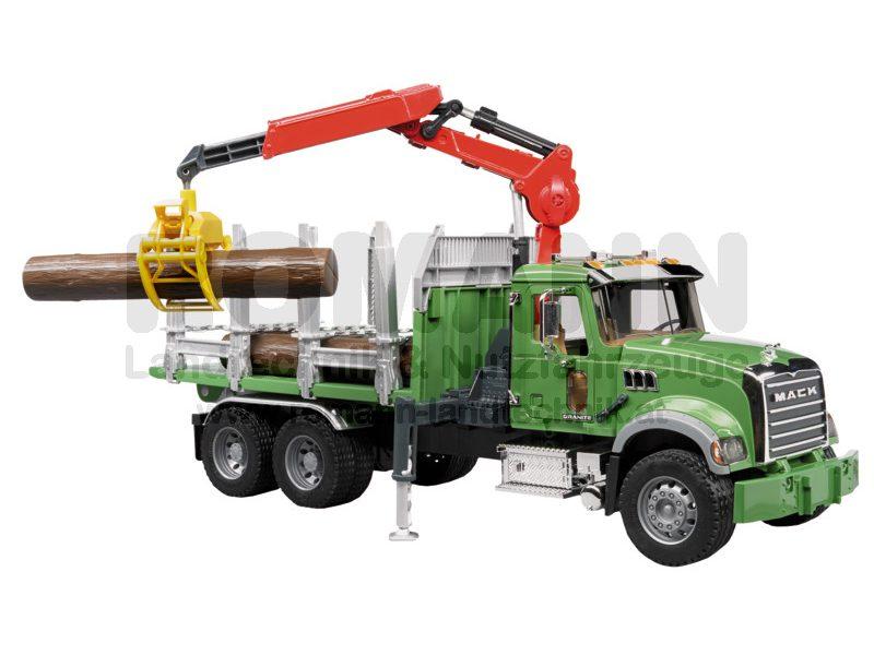 MACK Granite Holztransport-LKW mit Ladekran, Greifer und 3 Baumstämmen