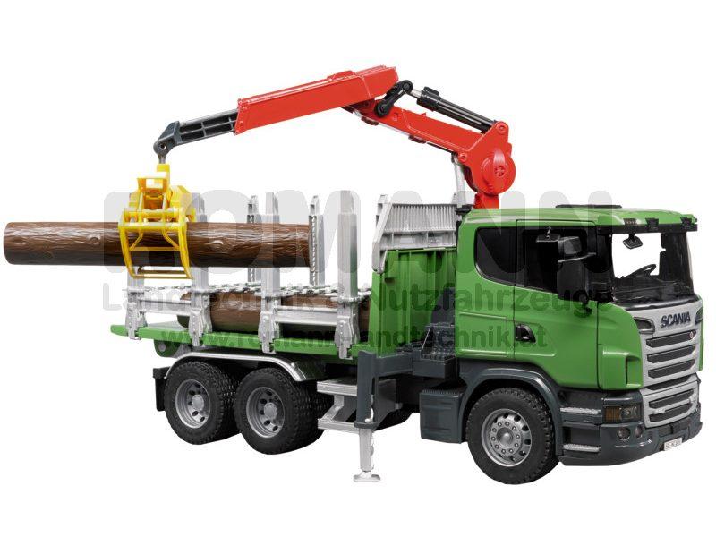 Scania R-Serie Holztransport-LKW mit Ladekran, Greifer und 3 Baumstämmen