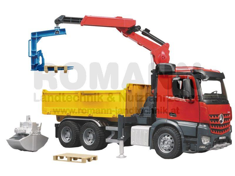 MB Arocs Baustellen LKW mit Kran, Schaufelgreifer und 2 Paletten